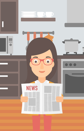 gazette: A woman reading the newspaper on the background of kitchen vector flat design illustration. Vertical layout.