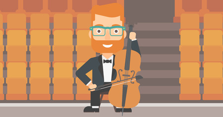 cellist: A hipster man with the beard playing cello on the background of empty theater seats vector flat design illustration. Horizontal layout.