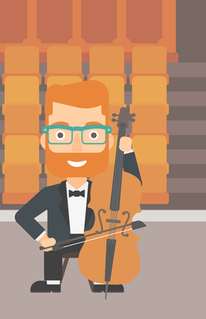 A hipster man with the beard playing cello on the background of empty theater seats vector flat design illustration. Vertical layout.