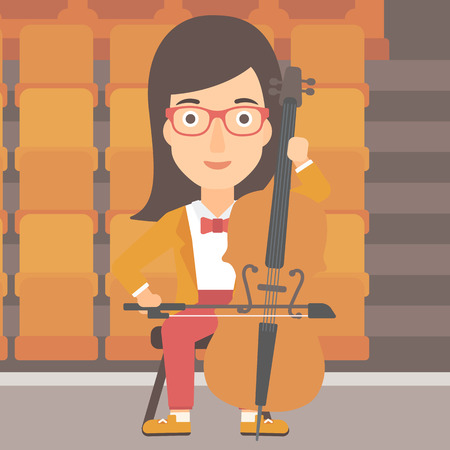 A woman playing cello on the background of empty theater seats vector flat design illustration. Square layout.
