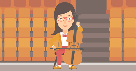 cellist: A woman playing cello on the background of empty theater seats vector flat design illustration. Horizontal layout. Illustration