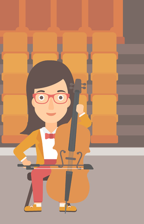 cellist: A woman playing cello on the background of empty theater seats vector flat design illustration. Vertical layout.