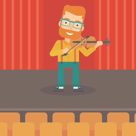 A hipster man with the beard  playing violin on the stage vector flat design illustration. Square layout. Ilustrace