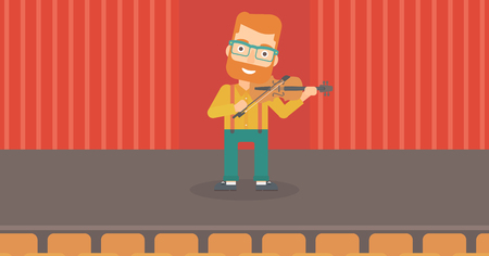 fiddlestick: A hipster man with the beard  playing violin on the stage vector flat design illustration. Horizontal layout. Illustration