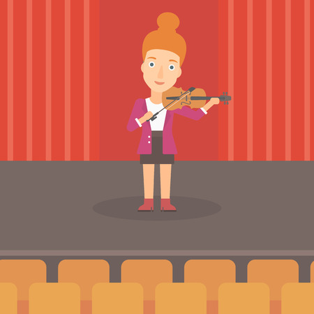fiddlestick: A woman playing violin on the stage vector flat design illustration. Square layout.