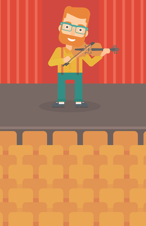 cellist: A hipster man with the beard  playing violin on the stage vector flat design illustration. Vertical layout.