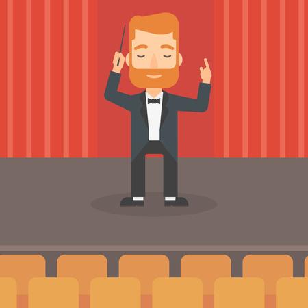 Ein Hipster Mann mit dem Bart mit seinem Taktstock auf der Bühne Vektor flache Design, Illustration zu lenken. Platz Layout. Standard-Bild - 56520597