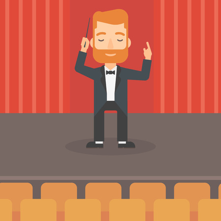 An hipster man with the beard directing with his baton on the stage vector flat design illustration. Square layout. Illustration