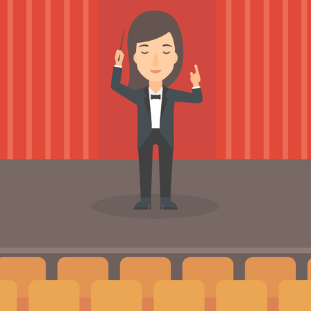maestro: A woman directing with her baton on the stage vector flat design illustration. Square layout.