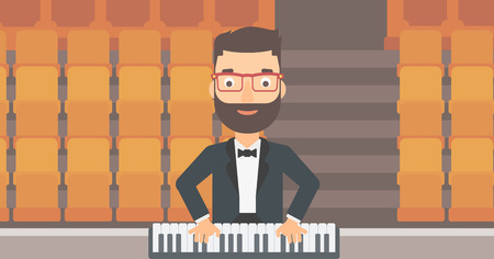 theater man: A hipster man with the beard playing piano on the background of empty theater seats vector flat design illustration. Horizontal layout.