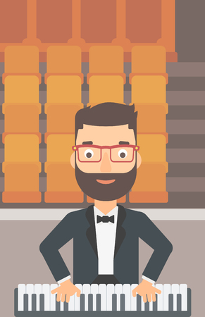 theater man: A hipster man with the beard playing piano on the background of empty theater seats vector flat design illustration. Vertical layout. Illustration