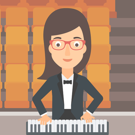 A woman playing piano on the background of empty theater seats vector flat design illustration. Square layout.