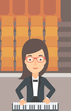 theater seats: A woman playing piano on the background of empty theater seats vector flat design illustration. Vertical layout.