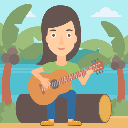 lanscape: A woman sitting on a log and playing a guitar on the background of tropical beach with palm trees and the sea vector flat design illustration. Square layout.