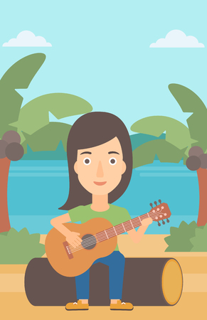 A woman sitting on a log and playing a guitar on the background of tropical beach with palm trees and the sea vector flat design illustration. Vertical layout.