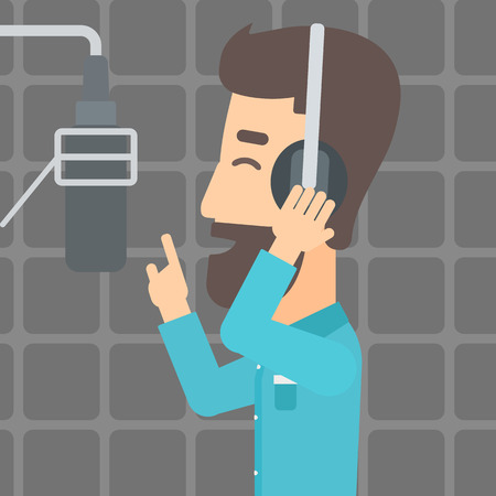 A hipster man in headphones making a record of his voice in studio vector flat design illustration. Square layout. 向量圖像