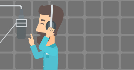 A hipster man in headphones making a record of his voice in studio vector flat design illustration. Horizontal layout. Vettoriali