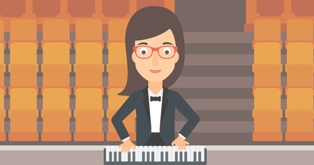 pianoforte: A woman playing piano on the background of empty theater seats vector flat design illustration. Horizontal layout.