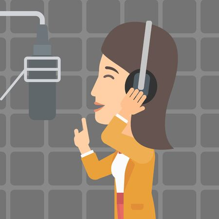 A woman in headphones making a record of her voice in studio vector flat design illustration. Square layout. Vettoriali