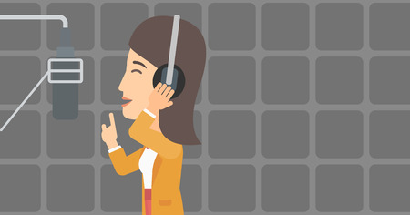 A woman in headphones making a record of her voice in studio vector flat design illustration. Horizontal layout.