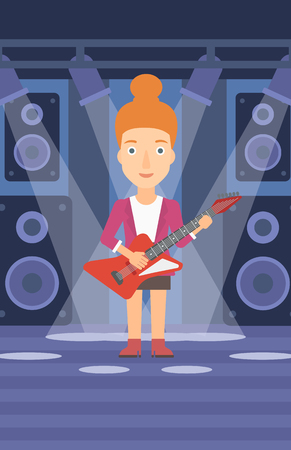 A woman playing electric guitar on the stage with spotlights vector flat design illustration. Vertical layout.