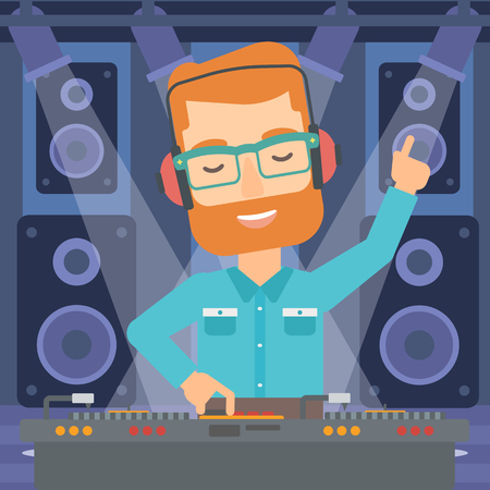 A hipster man in eadphones with hand up playing music on turntable on the background of night club vector flat design illustration. Square layout.