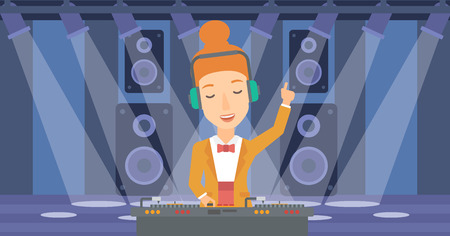 A DJ in eadphones with hand up playing music on turntable on the background of night club vector flat design illustration. Horizontal layout. Illusztráció