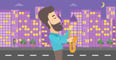 soloist: A hipster man with the beard playing saxophone on a night city background vector flat design illustration. Horizontal layout.