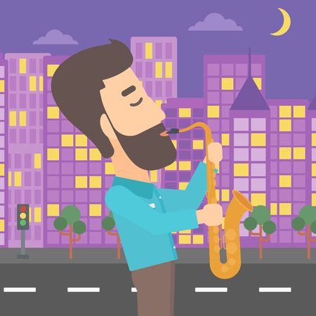 soloist: A hipster man with the beard playing saxophone on a night city background vector flat design illustration. Square layout.