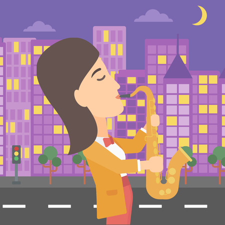A musician playing saxophone on a night city background vector flat design illustration. Square layout.