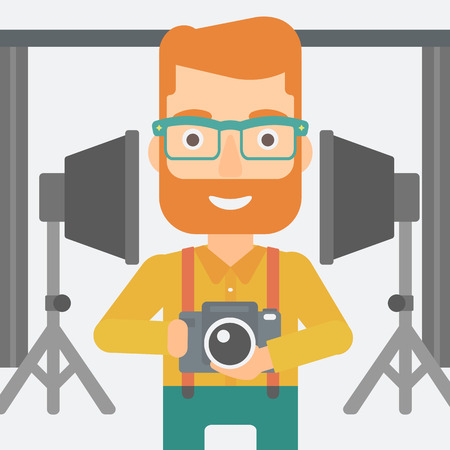 lighting equipment: A hipster man with the beard holding a camera on the background of photo studio with lighting equipment vector flat design illustration. Square layout. Illustration
