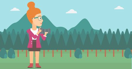 snapshot: A woman taking photo on the background of green forest and mountains vector flat design illustration. Horizontal layout. Illustration