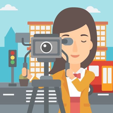 cinematographer: A camerawoman looking through movie camera on a city background vector flat design illustration. Square layout.