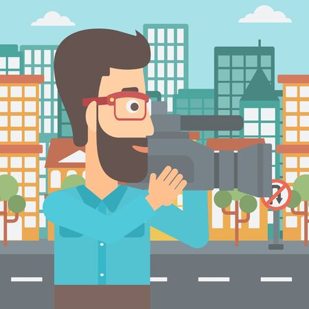 cinematograph: A hipster cameraman with video camera taking a video on a city background vector flat design illustration. Square layout.