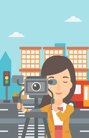 cinematographer: A camerawoman looking through movie camera on a city background vector flat design illustration. Vertical layout. Illustration