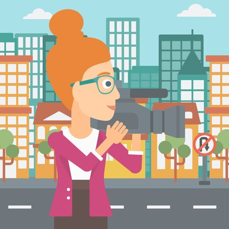 cinematographer: A camerawoman with video camera taking a video on a city background vector flat design illustration. Square layout.