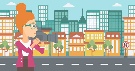 cinematographer: A camerawoman with video camera taking a video on a city background vector flat design illustration. Horizontal layout. Illustration