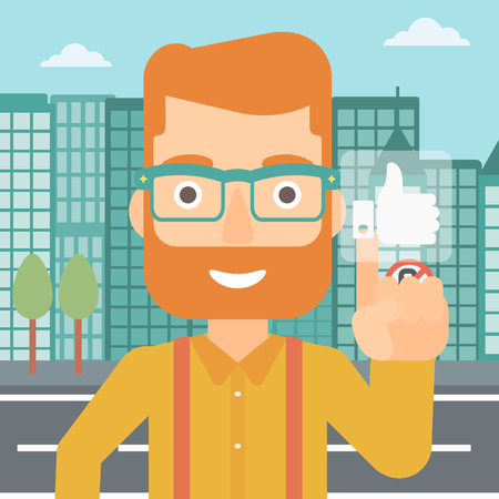 like button: A hipster man with the beard pressing like button on a city background vector flat design illustration. Square layout.