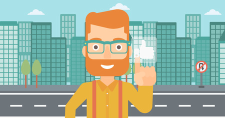 like button: A hipster man with the beard pressing like button on a city background vector flat design illustration. Horizontal layout.