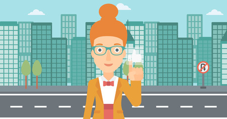 pressing: A woman pressing like button on the background of apartment vector flat design illustration. Horizontal layout.
