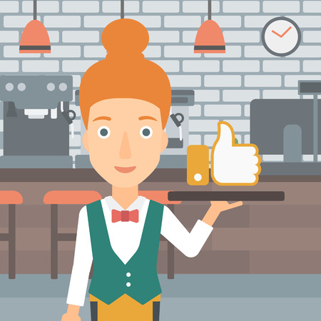 like button: A waitress carrying a tray with like button on a cafe background vector flat design illustration. Square layout.