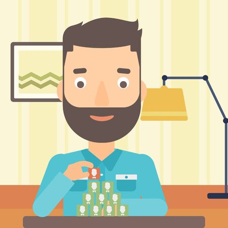 chat room: A hipster man with the beard making pyramid of avatars on the background of living room vector flat design illustration. Square layout.