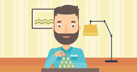 chat room: A hipster man with the beard making pyramid of avatars on the background of living room vector flat design illustration. Horizontal layout.