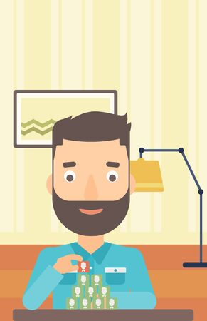 chat room: A hipster man with the beard making pyramid of avatars on the background of living room vector flat design illustration. Vertical layout.