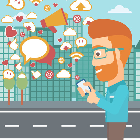 A hipster man with the beard using smartphone with lots of social media application icons flying out on a city background vector flat design illustration. Square layout. Illustration