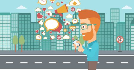 using smartphone: A hipster man with the beard using smartphone with lots of social media application icons flying out on a city background vector flat design illustration . Horizontal layout. Illustration