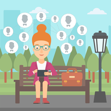 A woman sitting on a bench in the park and holding a tablet computer with many avatar icons above vector flat design illustration. Square layout. Stock fotó - 56520739