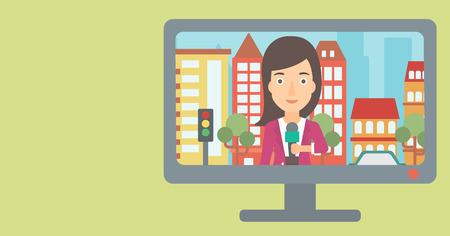 Television set broadcasting the news with reporter on a city background vector flat design illustration. Horizontal layout.