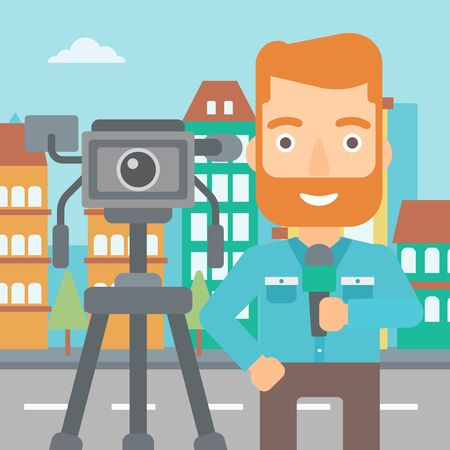 filming: A camera filming and a hipster reporter with the beard standing with a microphone on a city background vector flat design illustration. Square layout.