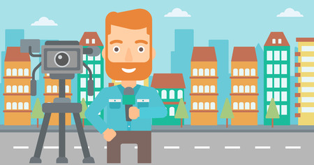 filming: A camera filming and a hipster reporter with the beard standing with a microphone on a city background vector flat design illustration. Horizontal layout.